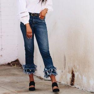 Zara Fringe Straight Leg High Waist Jeans
